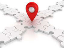 White Jigsaw pieces With Gps Marker Royalty Free Stock Photo
