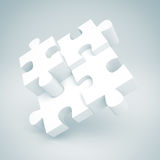 White Jigsaw Puzzle Concept Sucess Pie Chart. 3d Render Illustration Stock Photos