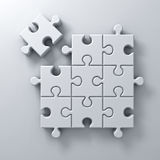 White jigsaw puzzle the last piece stand out from the crowd different concept on white wall background with shadow. 3D rendering Stock Photography