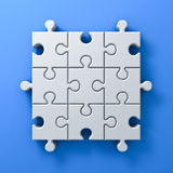 White jigsaw puzzle pieces concept on blue wall background with shadow 3D rendering. White jigsaw puzzle pieces concept on blue wall background with shadow. 3D Stock Image