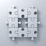 White jigsaw puzzle pieces one missing concept on white wall background with shadow Royalty Free Stock Photography
