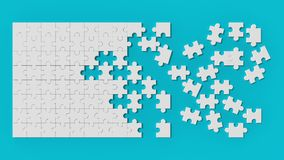 White jigsaw puzzle with unsolved pieces on blue background. 3d. Illustrating Stock Photos