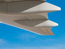 White jumbo wing details. Against blue sky Royalty Free Stock Images