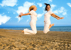 White jump with clouds Stock Photography