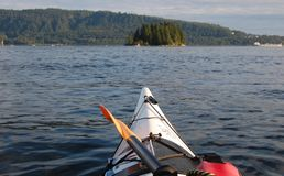 White Kayak. Kayaking in Deep Cove- Vancouver-BC. August 2011 Royalty Free Stock Photography