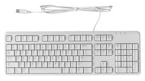 White Keyboard. All new standard personal computer white keyboard isolate on white Royalty Free Stock Photos