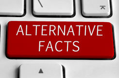 White keyboard with Alternative facts button. White keyboard with red Alternative facts button royalty free stock photos