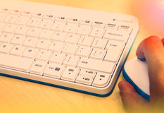 White keyboard. Internet browser. Stock Images