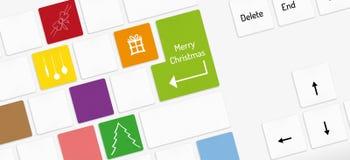 White keyboard, keys with christmas christmas symbols Stock Photos