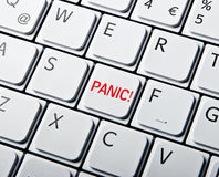 White Keyboard with Panic Button Stock Photo