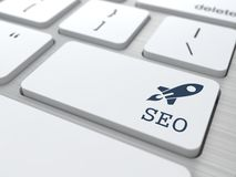 White Keyboard with SEO Button. Stock Image