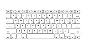White Keyboard Stroke QWERTY - Isolated Vector Illustration Royalty Free Stock Images