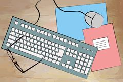 Free White Keyboard With Cable, Notebook, Computer Mouse And Pastel Background Royalty Free Stock Photos - 126697798
