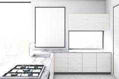 White kichen, framed poster. White and marble kitchen interior with a white wooden floor, white walls, panoramic windows and a bar stand. A poster. 3d rendering vector illustration