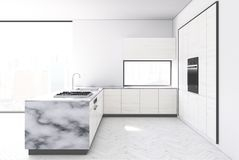 White kichen, marble bar. White and marble kitchen interior with a white wooden floor, white walls, panoramic windows and a bar stand. 3d rendering mock up royalty free illustration