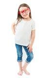White kid t-shirt. stock photo