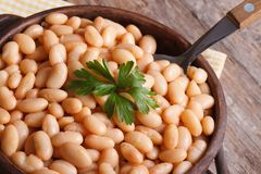 White kidney beans in a brown bowl on wooden macro top view Royalty Free Stock Image