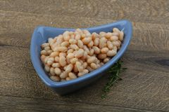 White kidney beans. White canned kidney beans in the bowl Stock Image