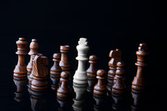 White king and the black pawn Royalty Free Stock Images
