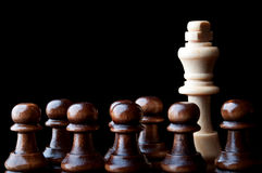 White king and the black pawn Royalty Free Stock Photo