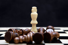 White king and black pieces on the chessboard Stock Image