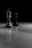 White King and Black Queen Chess Piece Reflection Stock Photography