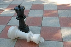 White King in checkmate from Black Queen Royalty Free Stock Image
