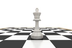 White king on chess board Royalty Free Stock Image