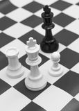 White king confront with black king in black and white. White king confrant with black king in black and white (selective focus Royalty Free Stock Photo