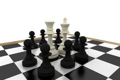 White king and queen surrounded by black pawns Royalty Free Stock Photo