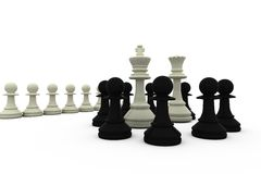 White king and queen surrounded by black pieces Royalty Free Stock Photography