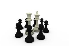 White king and queen surrounded by black pieces Royalty Free Stock Photo