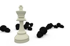 White king standing among fallen black pieces Stock Image