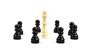 White King surrounded by black pawns. White king threatened by black pawns Stock Images