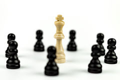 White King surrounded by Enemies. White king under Thread - shallow Focus Royalty Free Stock Photo