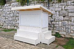 White Kiosk. Closed White Small Vending Kiosk Booth royalty free stock image