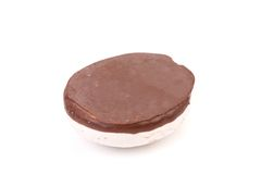 White Kiss Cookie with chocolate. Royalty Free Stock Photos