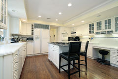 White kitchen. With island and desk area Stock Image