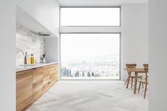 White Kitchen And Dining Room Interior, Window Royalty Free Stock Photos