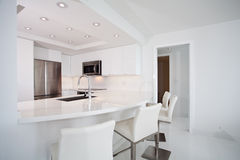 White Kitchen with bar counter Stock Image