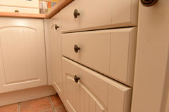 White Kitchen Cabinets and Drawers Royalty Free Stock Photos