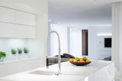 White kitchen with color details Royalty Free Stock Photography
