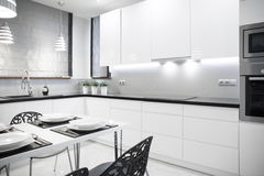 White kitchen in contemporary house Stock Image