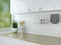 White kitchen design. Royalty Free Stock Photos