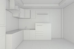 White kitchen. Glossiness interior. 3D illustration. White kitchen. Glossiness interior 3D illustration. 3d rendering Royalty Free Stock Photos
