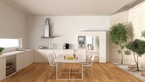 White kitchen with inner garden, minimal interior design Stock Images