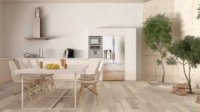 White kitchen with inner garden, minimal interior design Stock Photos