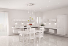 White kitchen interior 3d render Royalty Free Stock Photography
