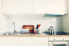 White Kitchen Interior Accessories Apple Products Royalty Free Stock Photography