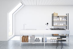 White kitchen interior. Interior of an attic kitchen with white walls, a cooker, a sink and a cupboard with dishes and cutting boards. 3d rendering, mock up Stock Photo
